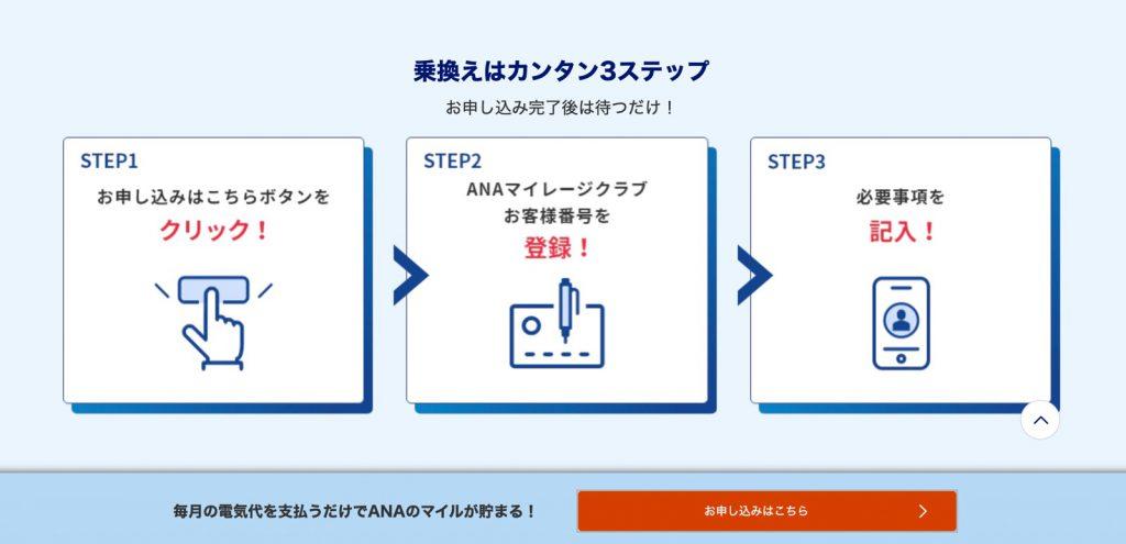 ANAでんきへの乗り換えは簡単