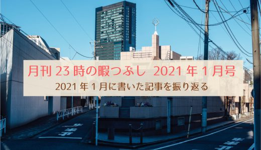 【月刊23時の暇つぶし1月号】2021年1月に書いた記事を振り返る