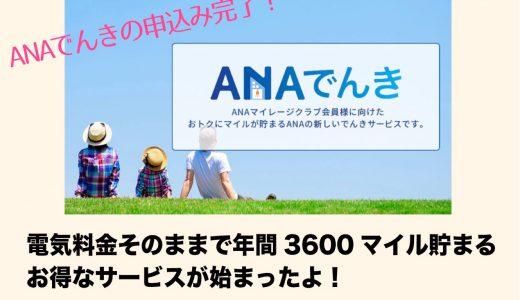 ANAでんきの申し込み完了!電気料金そのままで年間3600マイル貯まるお得なサービス開始